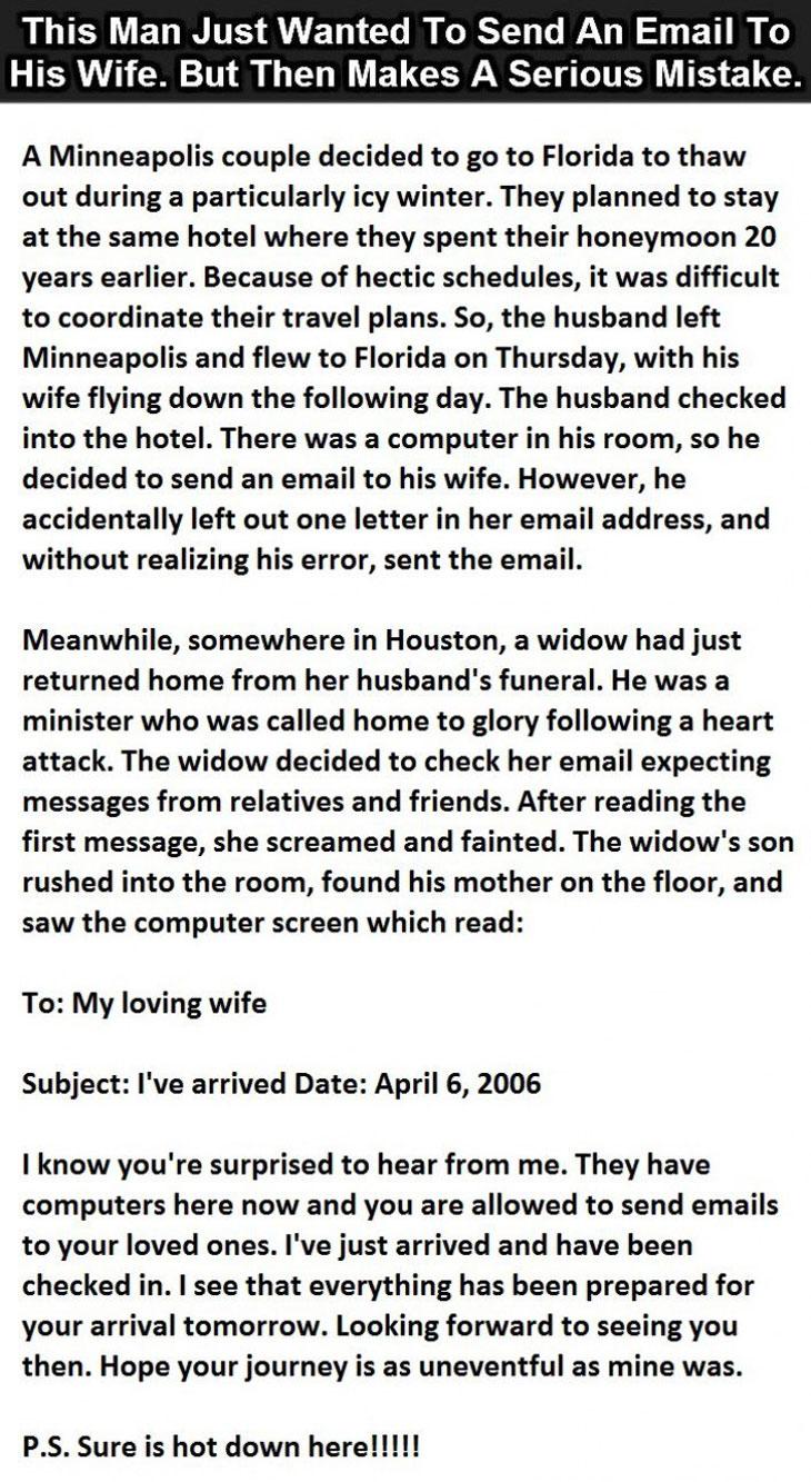 funny-email-mistake-widow-hotel - Sun Gazing Funny Hotel Story