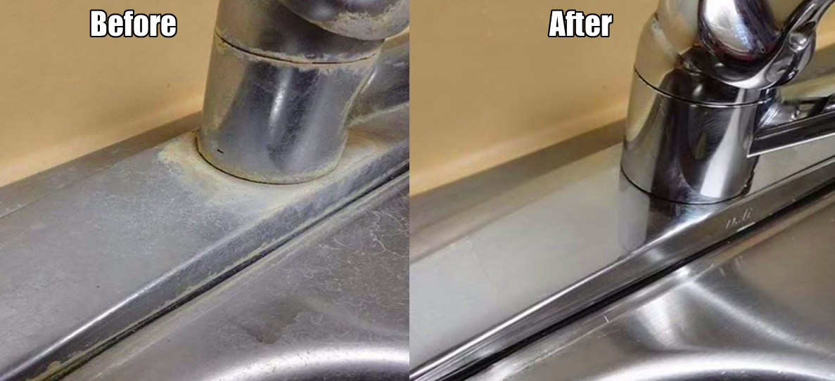 The simple way to remove hard water deposits on your for How to clean bathroom faucets