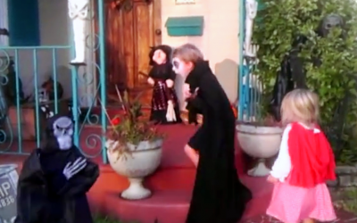 Monster Terrifies Boy When He Pops Out Of No Where. Now Watch When His Sister Confronts The Beast.