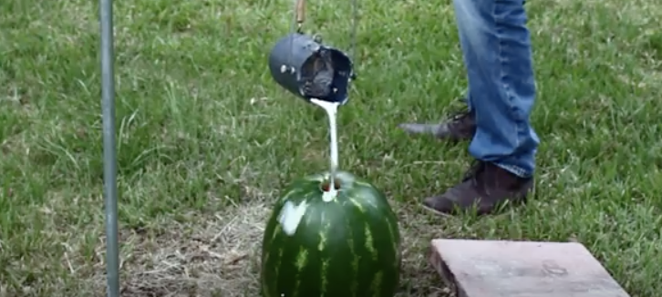 This Guy Pours Molten Aluminum Into His Watermelon  The Result Is An