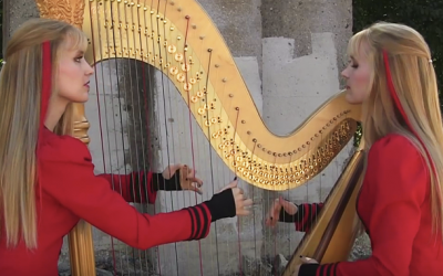Twins Start Playing A Strange Song On The Harp. But Once It Gets Going An Unexpected Surprise!