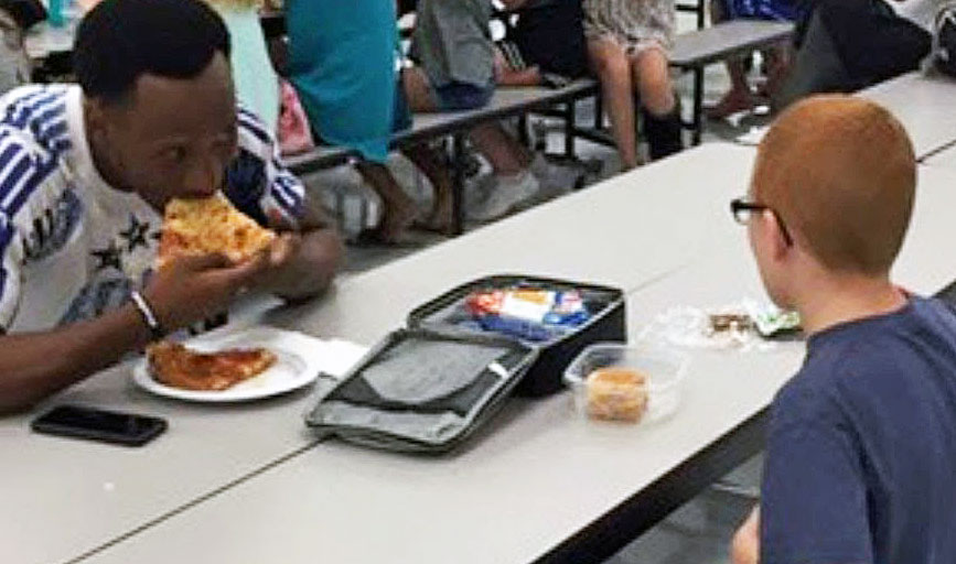Mom's Friendless Kid Always Ate Lunch Alone  Then a Football Star