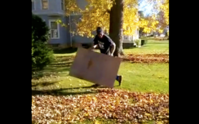 An Awesome and Time Saving Leaf Raking Hack Everyone Should Know This Autumn.